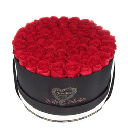 "Deluxe Black ""Be My Valentine Box"" with Red Long Lasting Roses"