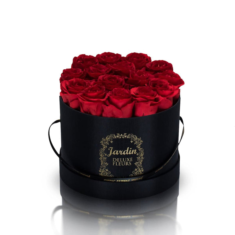 16 Red Long Lasting Roses in Black Hatbox