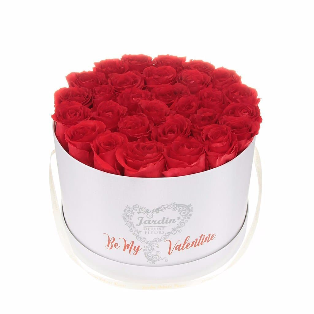 "36 Red Long Lasting Roses in White ""Be My Valentine Box"""