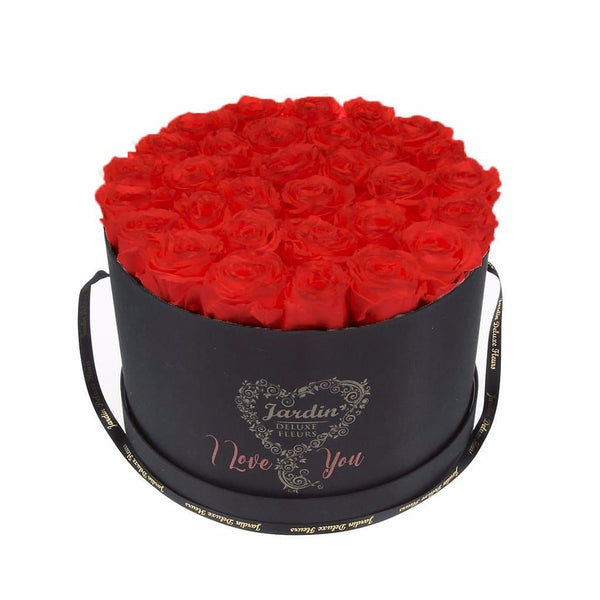 "36 Red 1 Year Real Roses in Black ""I Love You Box"""