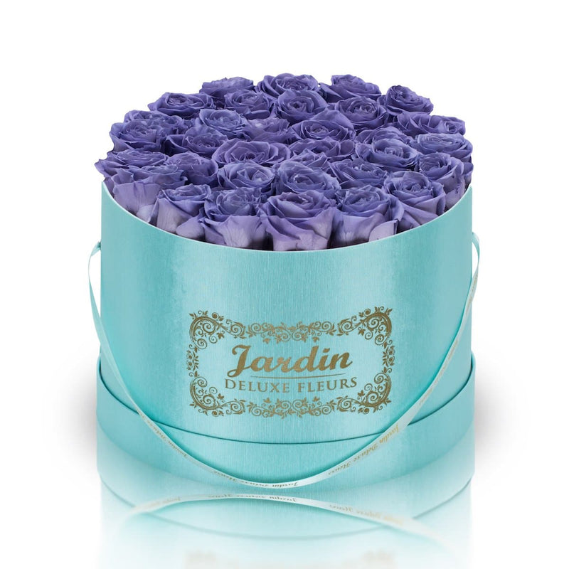 36 Lavender Long Lasting Roses in Tiffany Blue Hatbox
