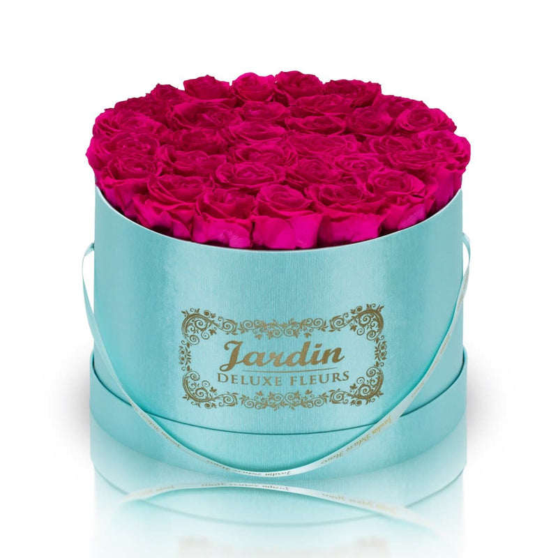 36 Pink Long Lasting Roses in Tiffany Blue Hatbox