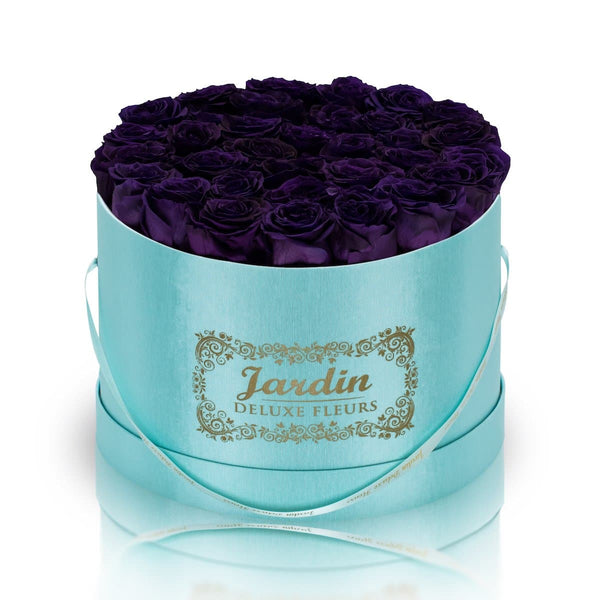36 Dark Purple Long Lasting Roses in Tiffany Blue Hatbox