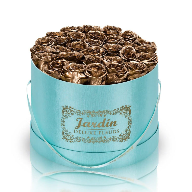 36 24K Gold Long Lasting Roses in Tiffany Blue Hatbox