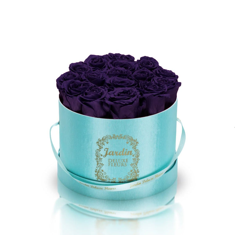 16 Dark Purple Long Lasting Roses in Tiffany Blue Hatbox