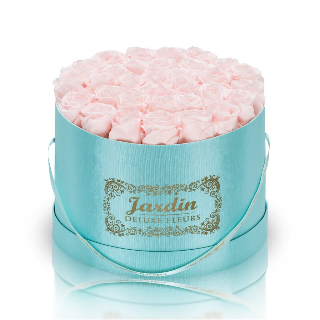 36 Light Pink Long Lasting Roses in Tiffany Blue Hatbox