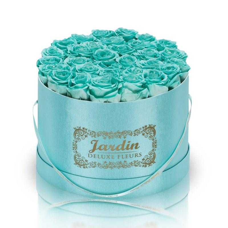 36 Tiffany Blue Long Lasting Roses in Tiffany Blue Hatbox