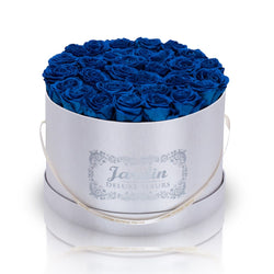 36 Blue Long Lasting Roses in White Hatbox