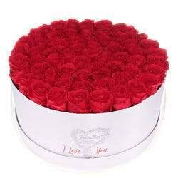 "Deluxe White ""I Love You Box"" with Red Long Lasting Roses"