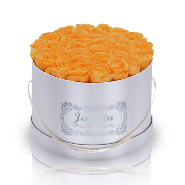36 Orange Long Lasting Roses in White Hatbox