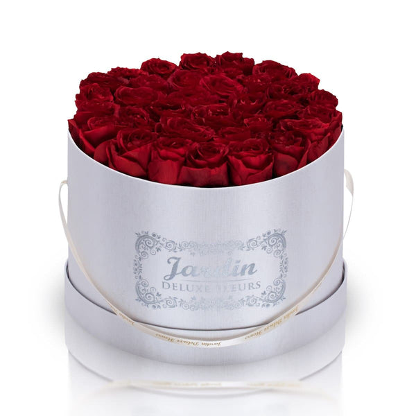 36 Red Long Lasting Roses in White Hatbox
