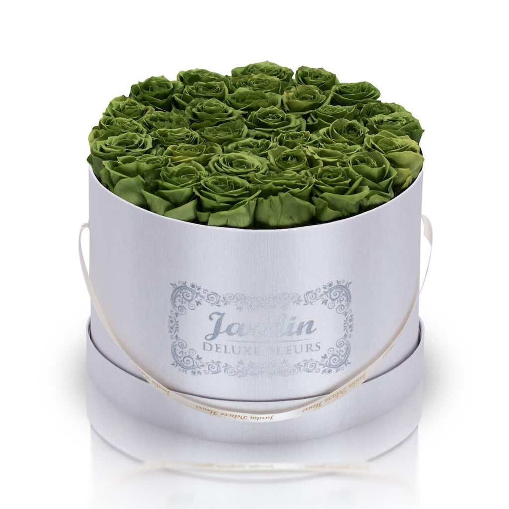 36 Green Long Lasting Roses in White Hatbox
