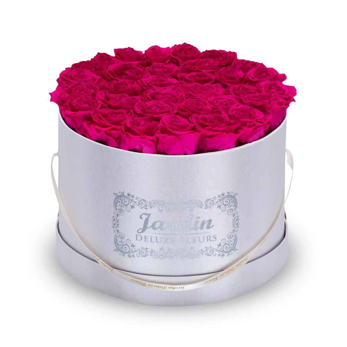 36 Pink Long Lasting Roses in White Hatbox