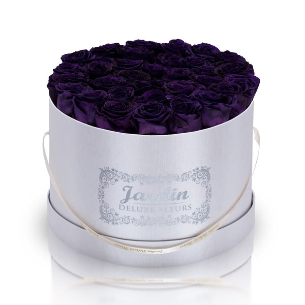 36 Dark Purple Long Lasting Roses in White Hatbox