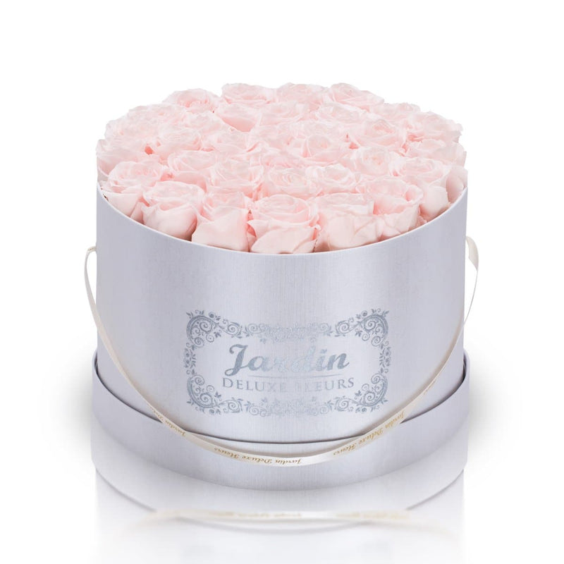 36 Light Pink Long Lasting Roses in White Hatbox