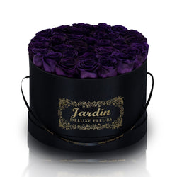 36 Dark Purple Long Lasting Roses in Black Hatbox