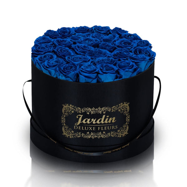 36 Blue Long Lasting Roses in Black Hatbox