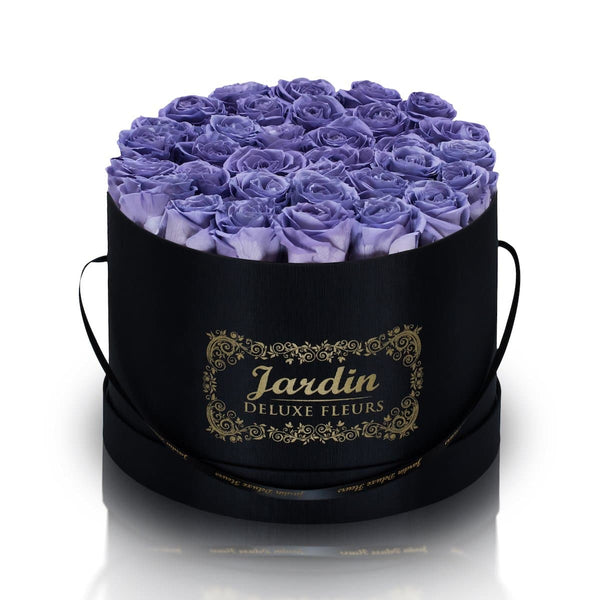 36 Lavender Long Lasting Roses in Black Hatbox