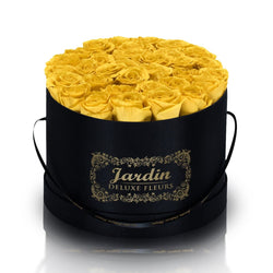 36 Yellow Long Lasting Roses in Black Hatbox