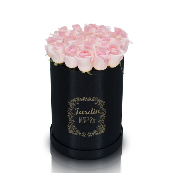 25 Light Pink Roses & Black Hat Box