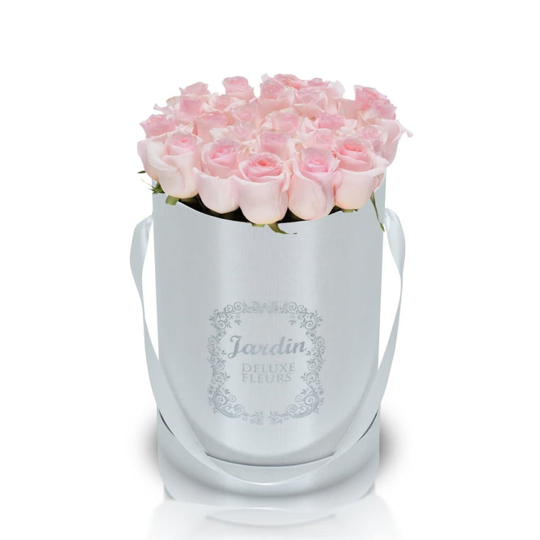 25 Light Pink Roses & White Hat Box