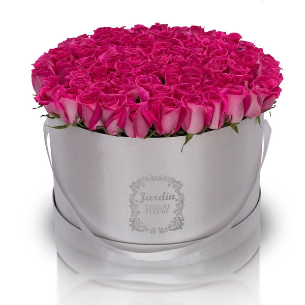 100 Roses in a Large White Hatbox