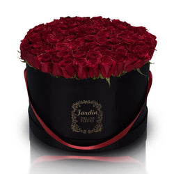 Roses in a Large Black Hatbox