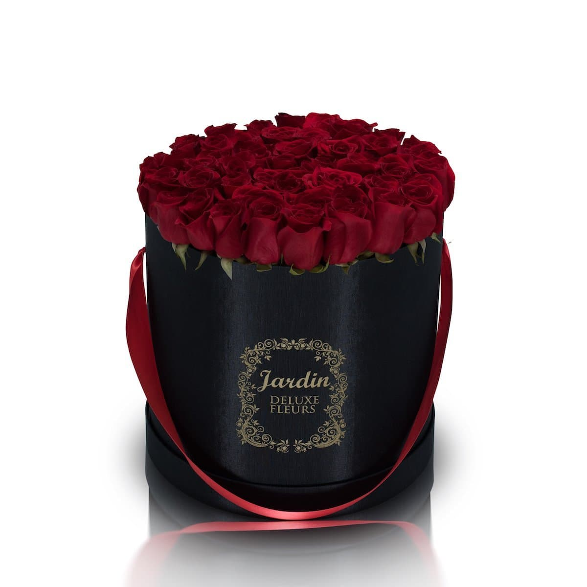 50 Roses in a Large Black Hatbox