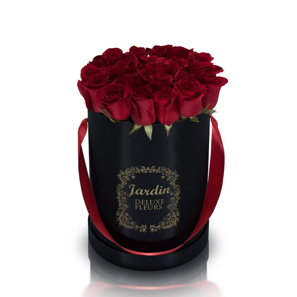 25 Red Roses & Black Hat Box