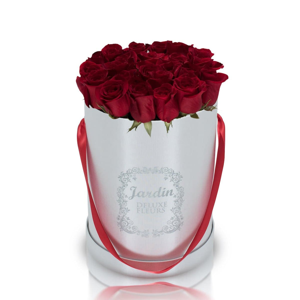 25 Red Roses & White Hat Box
