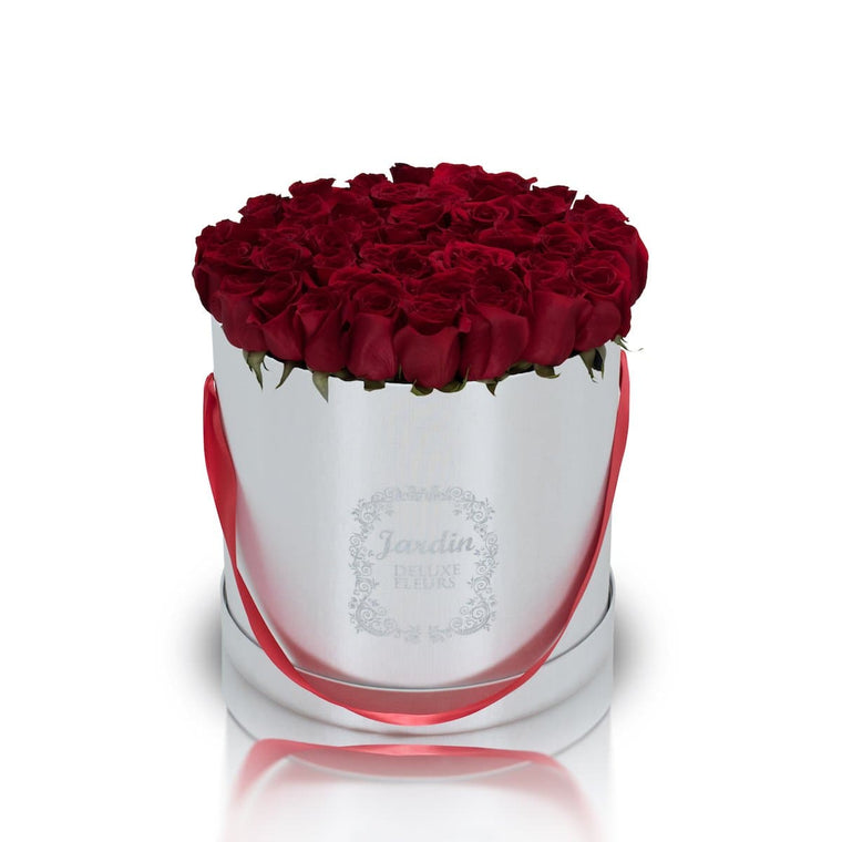 50 Red Roses in a Large White Hatbox