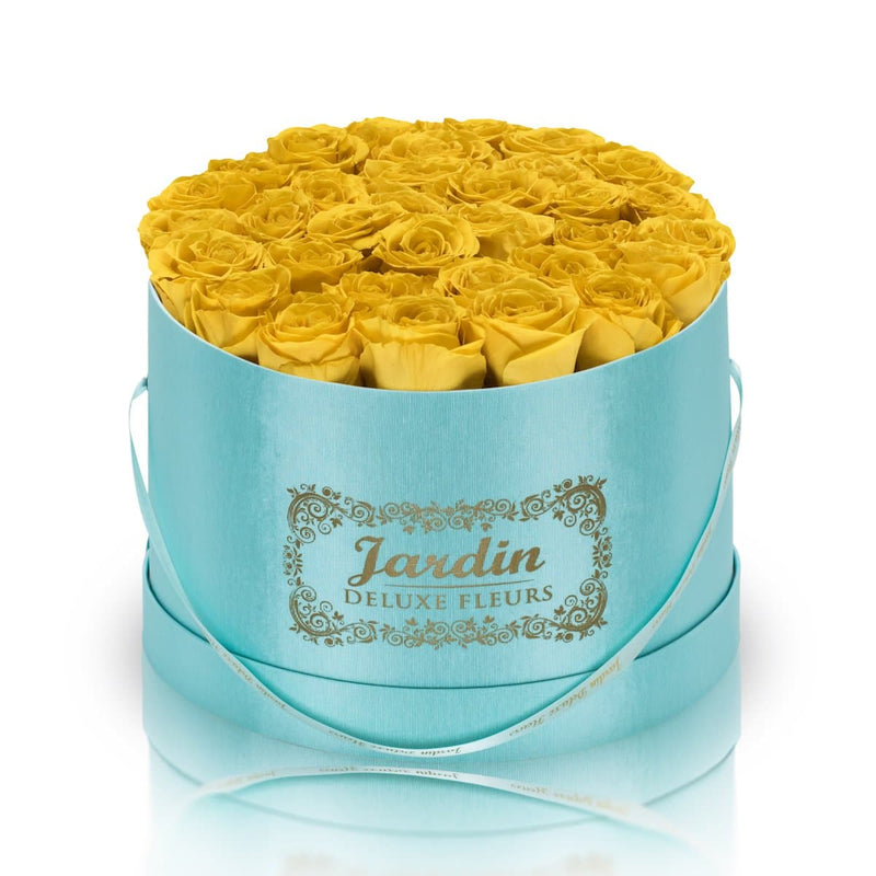 36 Yellow Long Lasting Roses in Tiffany Blue Hatbox