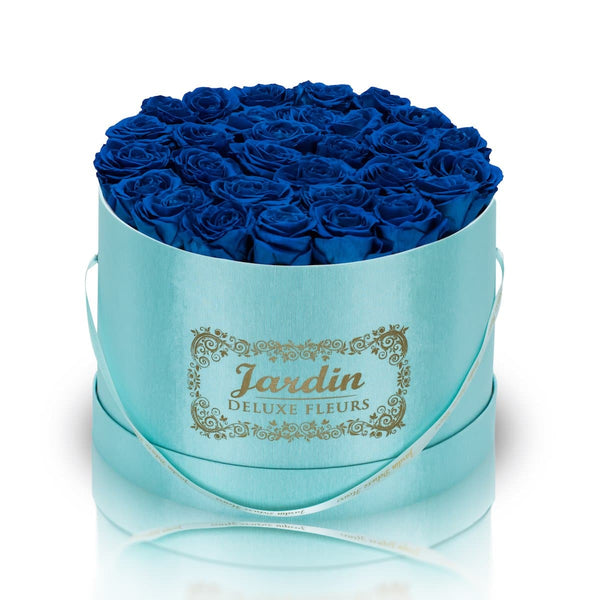 36 Blue Long Lasting Roses in Tiffany Blue Hatbox
