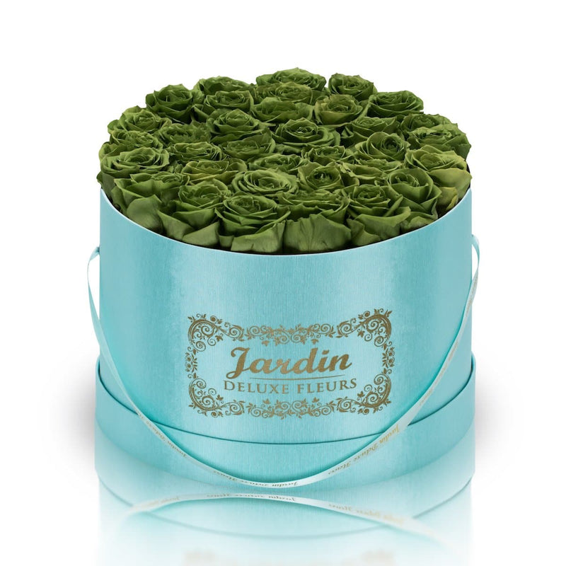 36 Green Long Lasting Roses in Tiffany Blue Hatbox