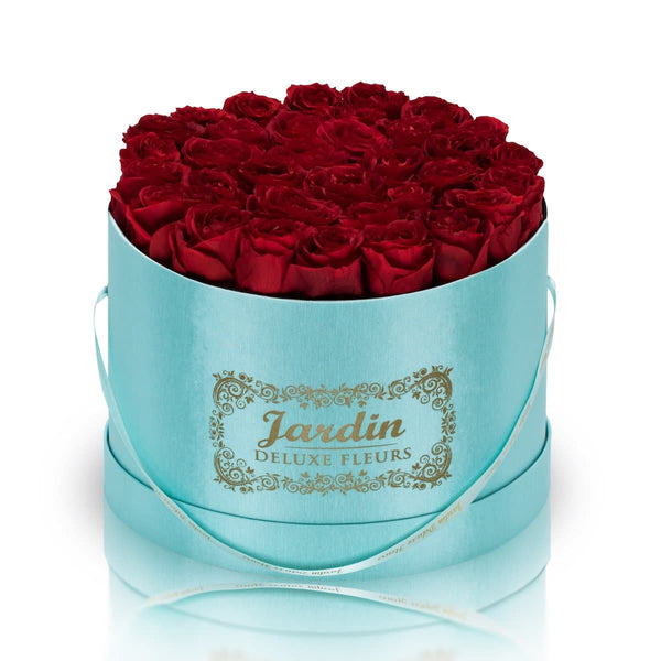 36 Red Long Lasting Roses in Tiffany Blue Hatbox