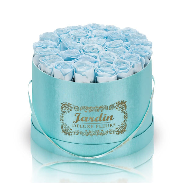 36 Baby Blue Long Lasting Roses in Tiffany Blue Hatbox