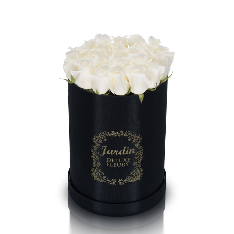 25 White Roses & Black Hat Box