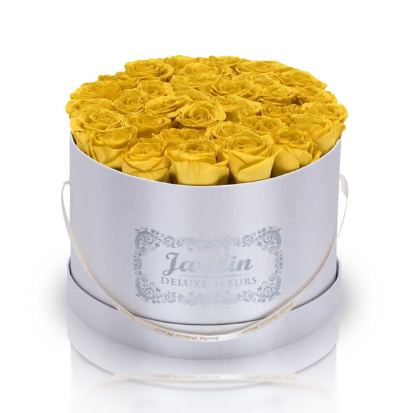 36 Yellow Long Lasting Roses in White Hatbox