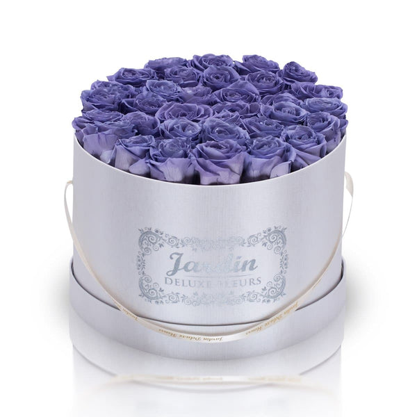36 Lavender Long Lasting Roses in White Hatbox