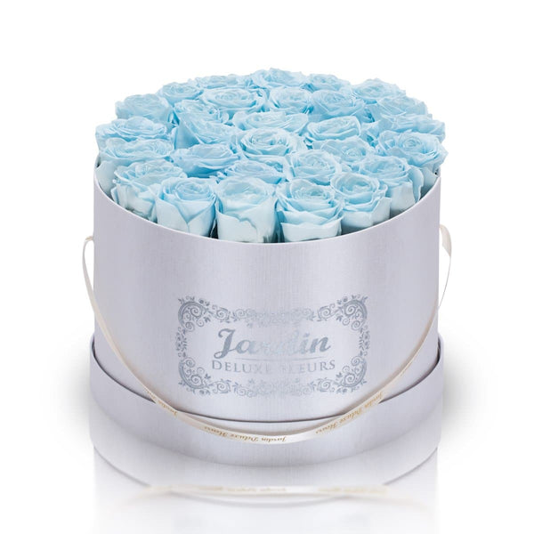 36 Baby Blue Long Lasting Roses in White Hatbox