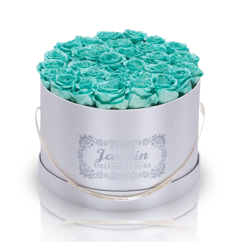 36 Tiffany Blue Long Lasting Roses in White Hatbox
