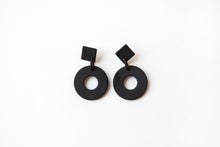Black Diamond Circle Drop Earrings