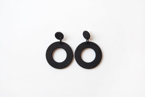 Black Circles Drop Earrings