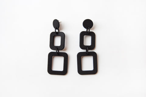 Black Squares Drop Earrings