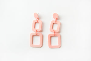 Coral Squares Drop Earrings