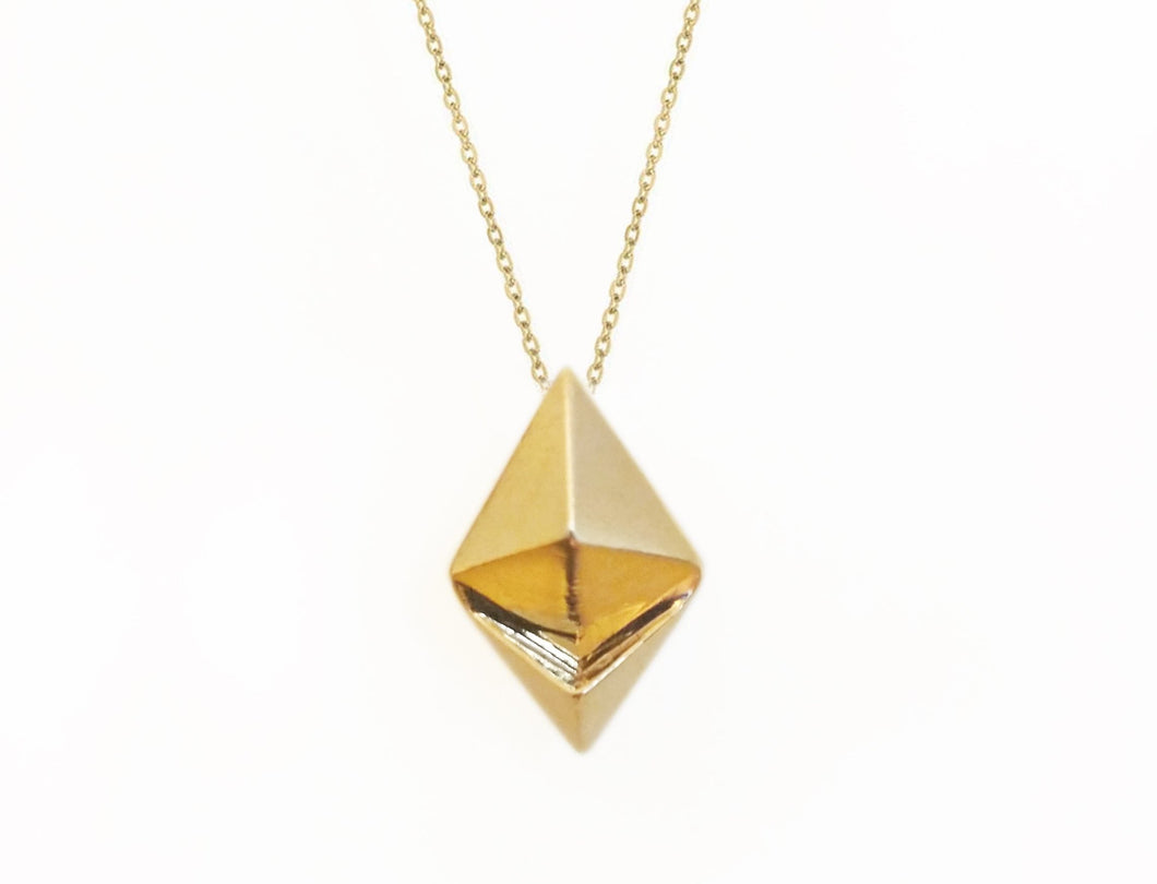 Customizable Ethereum Necklace Pendant Front View Brass