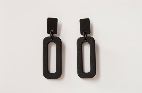 Black Rectangle Drop Hoops