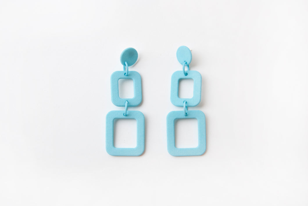Turquoise Squares Drop Earrings
