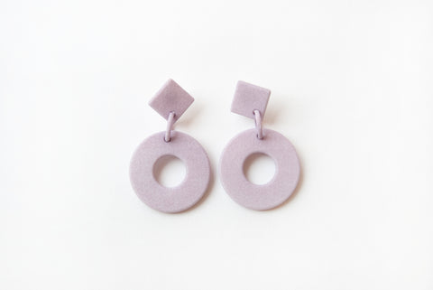 Lavender Diamond Circle Drop Earrings