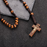 Hand-woven Wooden Rosary Beads Necklace
